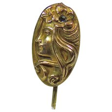 Art Nouveau Gold over Brass Stick Pin