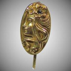 Art Nouveau Gold over Brass Stick Pin