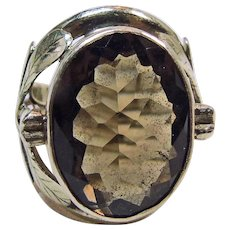 Tibetan Sterling Silver Smokey Quartz Flower Ring