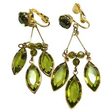 Peridot Green Glass Drop Earrings