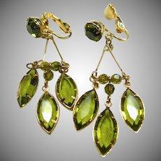 Peridot Green Glass Drop Earrings