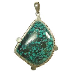 Tibetan Sterling Silver Spider Web Turquoise Pendant