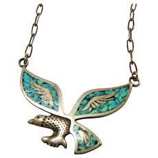 Necklace with Sterling Silver Eagle in Flight with Turquoise Chip Inlay