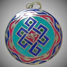 Sterling Silver Tibetan Endless Knot Enamel Pendant