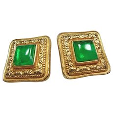 Vintage Ben Amun Gold Tone Clip Earrings with Deep Green Glass Cabochons