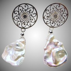 Freshwater Keishi Pearl and Sterling Silver Post Earrings