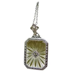 10k White Gold Camphor Glass Filigree Pendant on Sterling Silver Chain