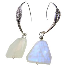 Blue Flash Moonstone and Sterling Silver Earrings