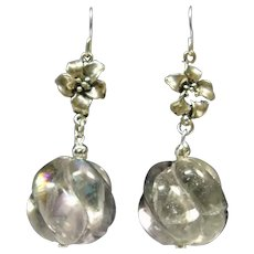 Large Lavender Carved Fluorite Bead and Sterling Silver Earrings