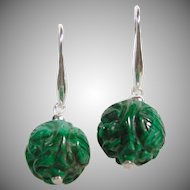 Carved Malachite Bead and Sterling Silver Drop Earring