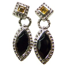 Sterling Silver Citrine and Onyx Earrings