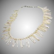 Double Head Drilled Biwi Stick Freshwater Pearl and Shell Heishi Necklace