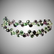 Pear Shape Fluorite Cabochon Drop  Necklace with Sterling Silver