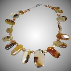 Montana Moss Agate and  Freshwater Baroque Pearl Necklace