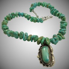 Super!!! Morenci Turquoise Pendant on Necklace of Turquoise Nuggets
