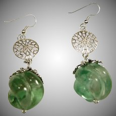 Carved Green Fluorite and Sterling Silver Drop Style Earrings