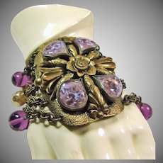 Wide Brass Bracelet with Art Glass, Purple Glass Beads and Faux Pearls