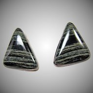 Southwestern Black and White Jasper Clip Earrings