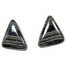 Southwestern Black and White Jasper Clip Earrings