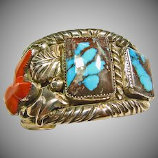 Carlos White Eagle Vintage Sterling Bracelet with Bisbee Turquoise and Branch Coral 177 grams