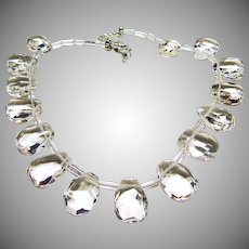 Brilliant Natural Rock Quartz Clear Crystal Cushion Cut Modified Pear Shape Stone Necklace