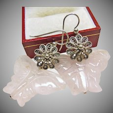Rose Quartz Butterfly and Sterling Silver Earrings