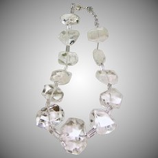 Natural Clear Rock Crystal Nugget Necklace.