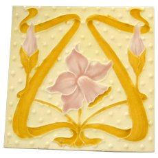Alfred Meakin Art Nouveau Tile of Pink Daffodil on Yellow Background