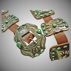 Stunning Turquoise and Sterling Silver Belt by Legendary Silversmith Kirk Smith