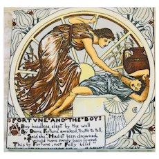 """AET Vintage Tile Trivet-Walter Crane """"Fortune and The Boy"""""""
