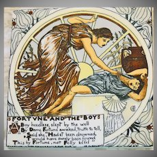"AET Vintage Tile Trivet-Walter Crane ""Fortune and The Boy"""