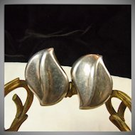 Sterling Silver Taxco  Sculptured Clip Earrings