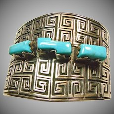 Southwestern Sterling Silver and Turquoise Cuff Bracelet