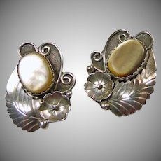 Sterling Silver and MOP Clip Earrings