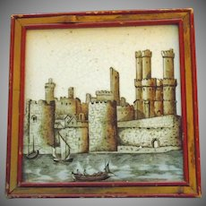 English Transfer Tile of Carnarvon Castle in a Red Wooden Frame with Bamboo Inlay