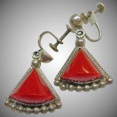 Sterling Silver Triangular Shape Drop Earrings