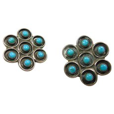 Sterling Silver and Turquoise Clip Earrings