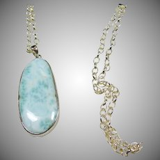 Sterling Silver Larimar Pendant on Sterling Cable Chain