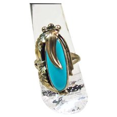 Native American Sterling Silver and Turquoise Ring