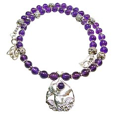 Amethyst and Sterling Silver Fairy Pendant Necklace