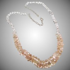Morganite and Natural Rock Quartz Crystal Necklace