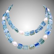 Blue Green and Blue Kyanite with Natural Freshwater Pearl Necklace.