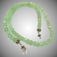Sea Foam Green Chalcedony Bead and Sterling Silver Necklace.