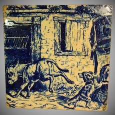 Donkey and Dog; Victorian Series Tile by  Brown WestHead Moore and Co Cauldon Place Stroke on the Trent.