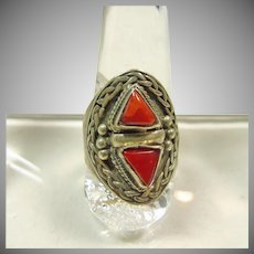 Tibetan Red  Coral and Sterling Silver Ring