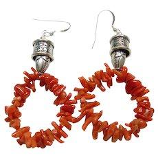 Red Coral and Sterling Silver Hoop Earrings