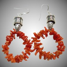 Red Coral and Sterling Silver Hoop Earrings