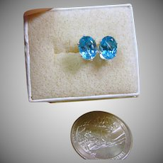 Blue Topaz in Sterling Silver Stud Earrings