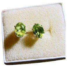Peridot in Sterling Silver Stud Earrings