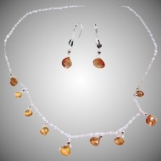 Imperial Topaz and Sterling Silver Necklace and Earrings